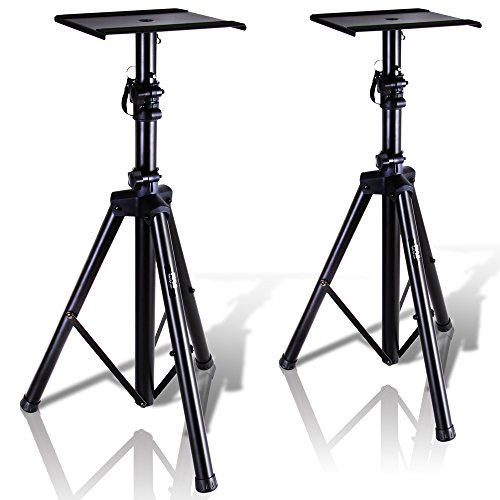 "Pyle Dual Studio Monitor 2 Speaker Stand Mount Kit - Heavy Duty Tripod Pair and Adjustable Height from 34.0"" to 53.0"" w/ Metal Platform Base - Easy Mobility Safety PIN ()"