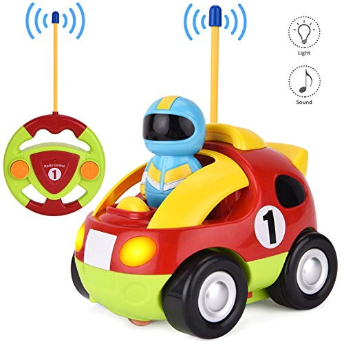 GotechoD Remote Control car, Cartoon RC Police Car with Music and Lights, Radio Control Toy for Baby Toddlers Kids and Children, Perfect as Holiday Birthday Present(red)