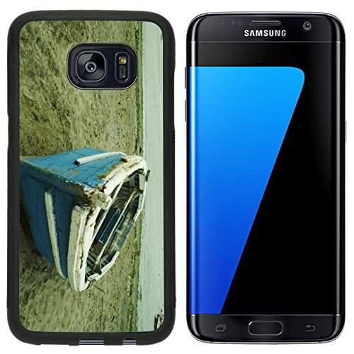 S7 Edge Aluminum Backplate Bumper Snap Case iPhone6 IMAGE ID: 639617 Blue boat in on the Pacific ocean coast ()