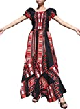 Raan Pah Muang Africa Dashiki Black Baby Doll Full Wild Smock Waist Ladies Dress, X-Large, Black and Red