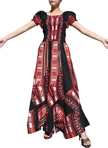 Raan Pah Muang Africa Dashiki Black Baby Doll Full Wild Smock Waist Ladies Dress, X-Large, Black and Red by Raan Pah Muang