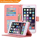Fits iPhone 6S Plus & iPhone 6 Plus Case [5.5 inch] Flip Folio PU Leather Wallet Cover [Kickstand] [Removable Strap] [Clear ID Window] [360 Degree Full Protection] [6 Cards 1 Money Bills Slot] - NAVOR®