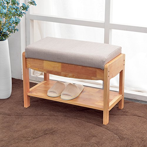 NATURALFOREST Wooden Shoe Rack For Closet, Dark Brown Solid Wood Shoe Rack Organizer, Entryway Storage Bench (dark brown) (white) by NATURALFOREST