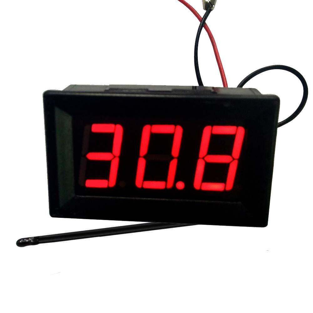 YRD TECH LED DC12V -50~110℃ High Low Temperature Digital Thermometer with Probe (Black)