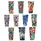Efivs Arts Xt Series Temporary Fake Tattoo Arm Sleeves Leg Stockings Accessories for Men Women Set of 10