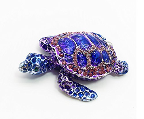 Waltz&F Purple Sea Turtle Figurine Collectible Hinged Trinket Box Bejeweled Hand-painted Ring Holder Bejeweled Turtle