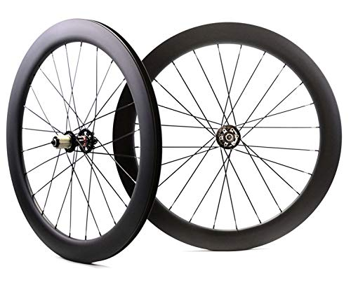 FANTECY 700C 60mm Depth Road disc Brake Carbon Wheels 25mm Width Bike Clincher Carbon wheelset UD Matte Finish,U-Shape Rim