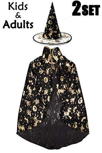 Camlinbo Halloween Witch Costumes Womens Cloak Boy Girl Wizard Cape with Party Hat Cosplay Party Favor Dress up (B Black Kids) ()