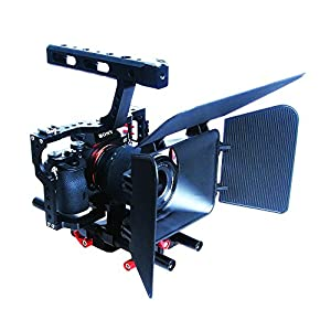 Commlite Comstar Aluminum Alloy Camera Cage Film Movie Making Kit System ,for DSLR Camera Such as Canon Nikon Sony Olympus(Video Cage+Top Handle Grip+15mm Rod+Matte Box+Follow Focus)