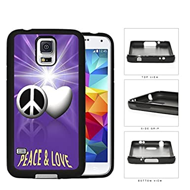 Peace And Love Symbols With Purple Glare Rubber Silicone Tpu Cell