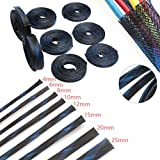 Blue Black Insulation Braided Sleeving 4/6/8/10/12/15/20/25mm Tight PET Expandable Cable Sleeves Wire Gland Cables Protection