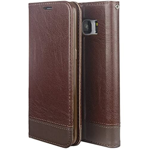 MOACC Galaxy S7 Edge PU Leather Wallet Case with TPU Soft Holder, 2 Card Slots, Kickstand Feature Coffee Brown Sales