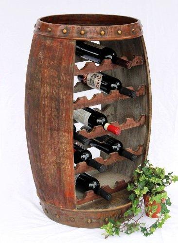 Weinregal Weinfass 0370-R Fass aus Holz H-81cm Flaschenständer Braun Bar Weinbar