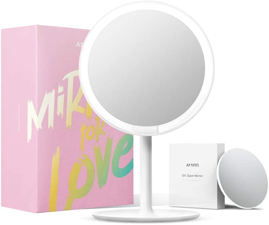 Adjustable Brightness High Definition Countertop Vanity Mirror Rechargeable and Cordless Black Motion Sensor Amiro Smart Lighted Makeup Mirror with Natural Daylight LED Lights