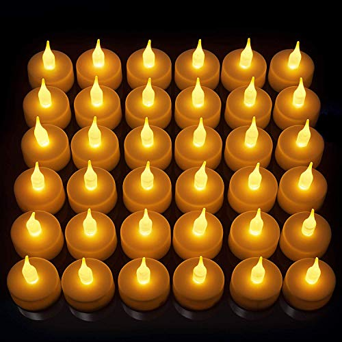 LED Candles, Lasts 2X Longer, Realistic Tea Light Candles, Flameless Candles to Create a Warm Ambiance, Naturally Flickering Bright Tealights,Battery Powered Candles,Unscented, Batteries Included -
