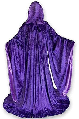 Velvet Cosplay Wizard Robe with Satin lined Hood and Sleeves (Gathered Robe)
