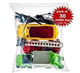 30 Count Extra Large Zip & Lock Bags, Thick Strong Clear Big Jumbo Storage Bags for Food, Travel, Organization, Size 18' x 24', 2 Mill Thick