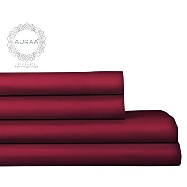 AURAA Elegance 800 Thread Count 100% American Supima Long Staple Cotton Sheet Set,4 Pc Set, King Sheets Sateen Weave,Hotel Collection Soft Luxury Bedding,Fits Upto 18  Deep Pocket,Burgundy