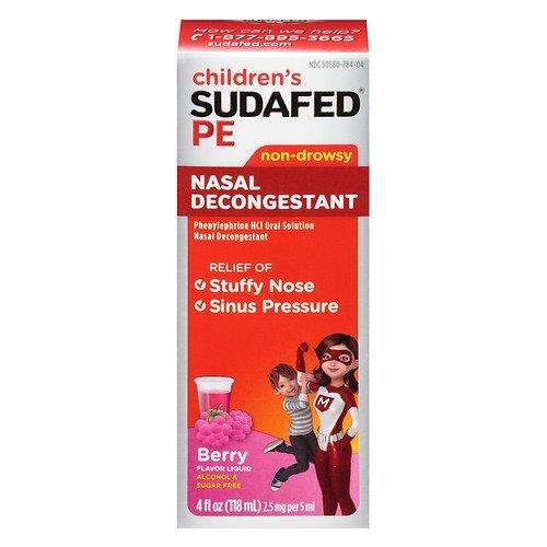 Sudafed PE Children's, Non-Drowsy Nasal Decongestant, Raspberry 4 fl oz (Drowsy Non Sudafed)