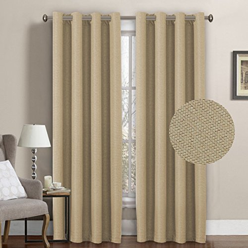 Drapery Panel (H.Versailtex Classical Grommet Room Darkening Thermal Insulated Heavy Weight Textured Tiny Plaid Linen Like Innovated Extra Long Curtains&Drapes,52 by 108 Inch-Beige (1 Panel))