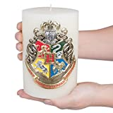 """Harry Potter Candle - Hogwarts House Crest Insignia Sculpted Pillar Candle - Multi Use With 80 Hour Burn Time - Perfect For Hogwarts Students & Fans - Unscented - 6""""h"""