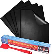 """Grill Mat, Peyou [5 Pack] [FDA-Approved PFOA Free]15.7""""*12.9""""[Plus One 8'' BBQ Basting Brushes] 100% Non-stick BBQ Grill & Baking Mats Sheets - Reusable and Easy to Clean - Works on Gas, Charcoal, Electric Grill and More -Perfect for Charcoal"""
