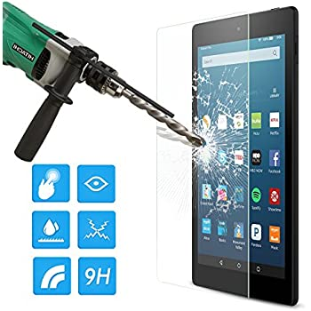 MoKo Amazon Fire HD 8 2016 Screen Protector, [Scratch Terminator] Premium HD Clear 9H Hardness Tempered Glass Screen Protector Film for Fire HD 8 Tablet (2016 Release / 2015 Release ONLY)