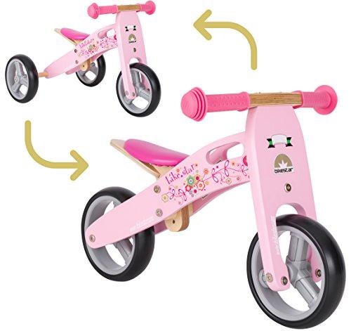 🥇 BIKESTAR 2 in 1 Bicicleta sin Pedales Madera para niños y niñas Bici Ajustable 7 Pulgadas | Bicicleta y Triciclo Mini a Partir de 1-1