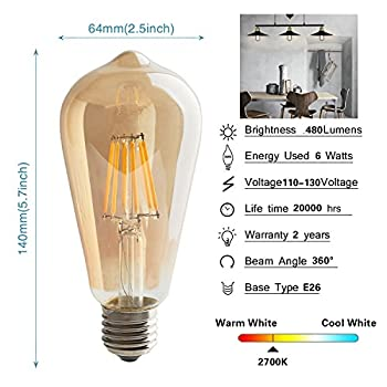LED Edison Bulb,6w Dimmable Led Light Bulb, Vintage LED Filament Light Bulb, st64 led Bulb,2700K, Antique Style, e26 Medium Screw Base, Amber Glass Cover,6 Pack.