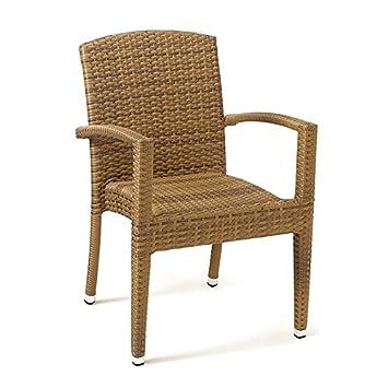 Conjunto 2 sillones ratán sintético Florencia Estilo Mimbre Trenzado de Alta Resistencia para jardín, terraza y Exterior … (Avellana)