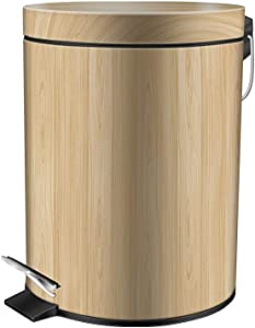 DBAL Round Trash Can with Lid Soft Close, Anti-Fingerprint Stainless Steel Silver Pedal Garbage Bin Removable Inner Wastebasket for Office, Home and Kitchen