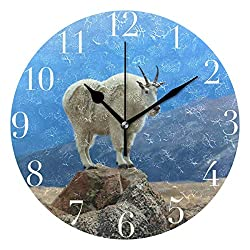 Dozili Mountain Goat Round Wall Clock Arabic Numerals Design Non Ticking Wall Clock Large for Bedrooms,Living Room,Bathroom