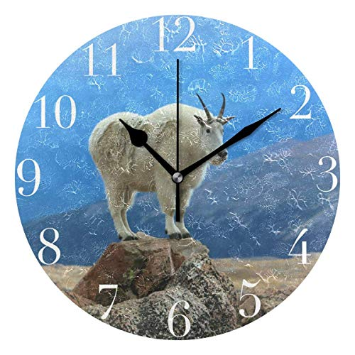 Dozili Mountain Goat Round Wall Clock Arabic Numerals Design Non Ticking Wall Clock Large for Bedrooms,Living Room,Bathroom (Pbteen Design Room)