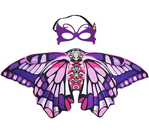 Kids Fairy Butterfly Wings Costume and Mask for
