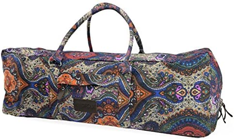 Kindfolk Yoga Mat Duffle Bag Extra Large XL Patterned Canvas with Pocket and Zipper