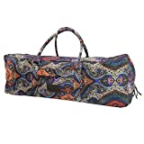 Kindfolk Yoga Mat Duffle Bag Patterned Canvas with Pocket and Zipper (Celestial, Extra Large)