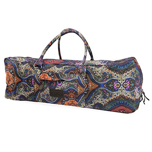 Kindfolk Yoga Mat Duffle Bag Patterned Canvas with Pocket and Zipper (Celestial, Extra Large) (Leather Yoga Mat Bag)