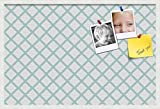 PinPix custom printed pin cork bulletin board made from canvas, Diamond Modern Pattern Aqua 36x24 Inches 2 x 3 ft and framed in Satin White Frame (PinPix-Group-87)