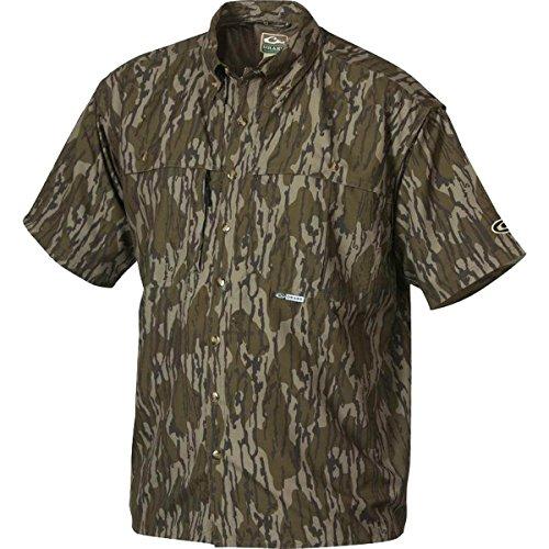 Drake Short Sleeve Vented Wingshooters Casual Shirt (Original Mossy Oak Bottomland) (Men's Medium)