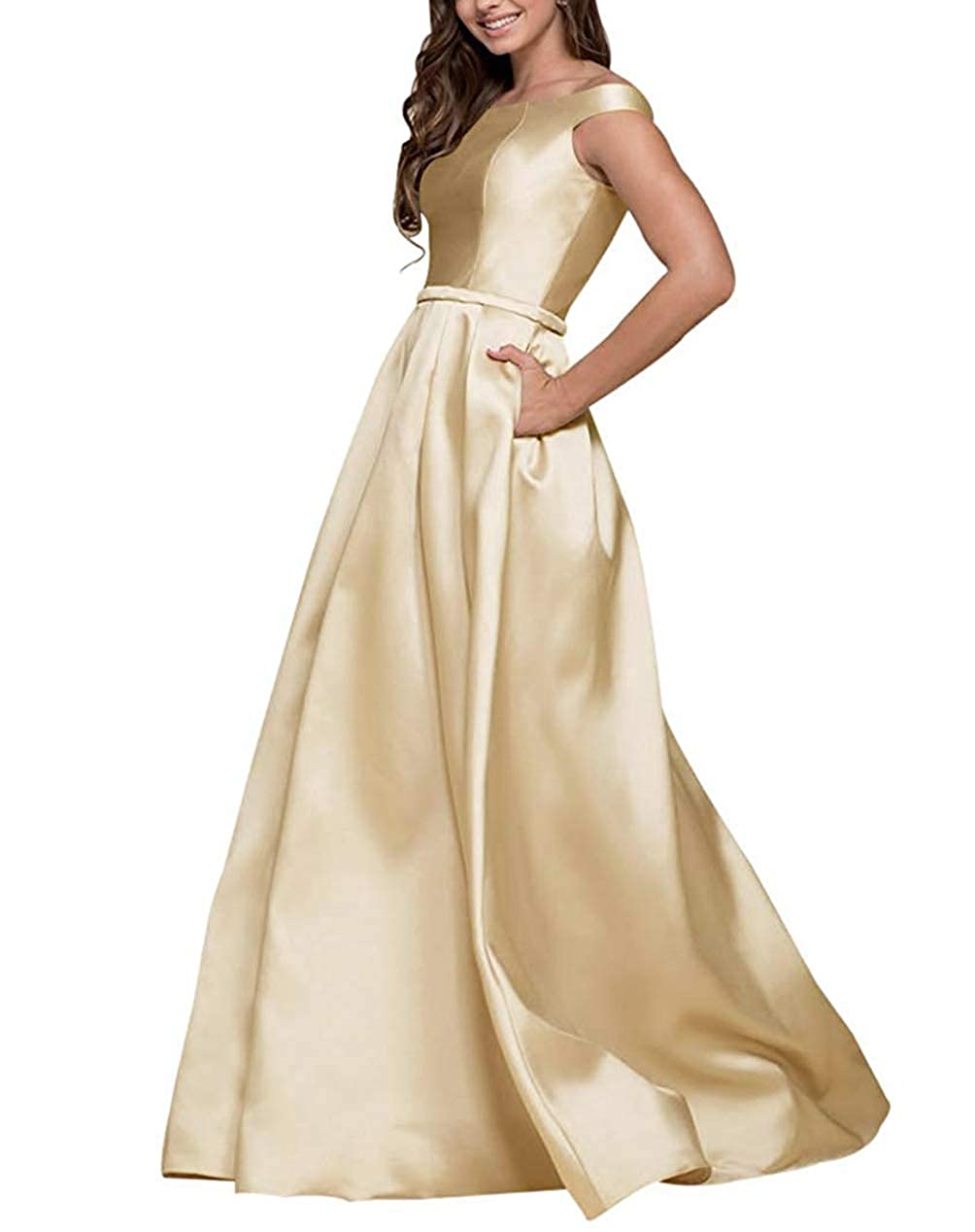 Champagne Tmaoomo Aline Off The Shoulder Satin Prom Party Dresses for Women Formal Evening Gowns