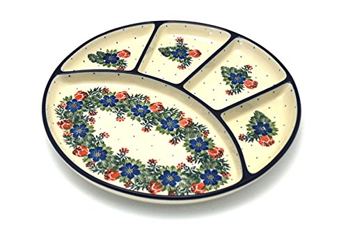 (Polish Pottery Dish - Divided Appetizer - Garden Party)
