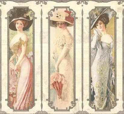 Wallpaper Old Fashioned Victorian Ladies on (Ladies Border)