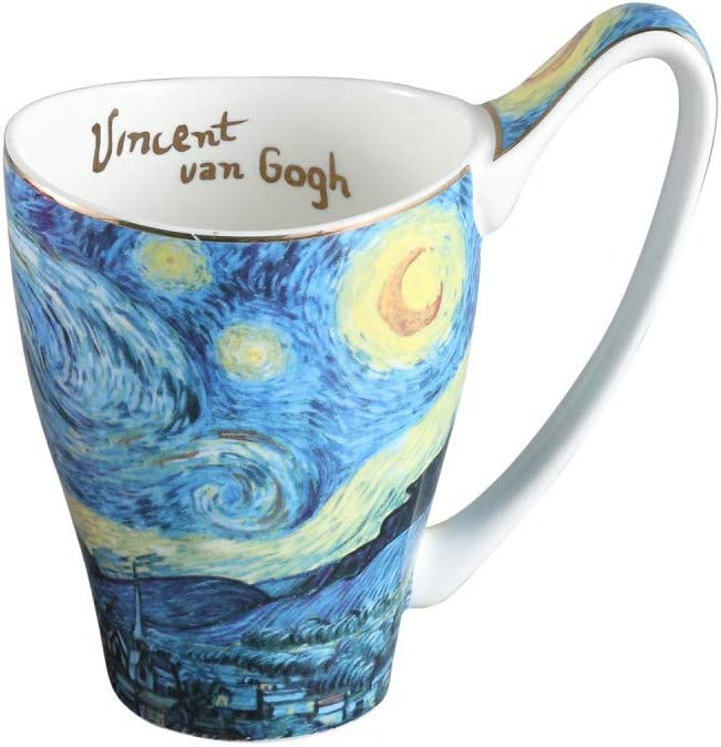 Ceramic Mug Funny Cup, Milk Cup Tea or coffee Cups ceramic 16 oz Mugs for Kitchen, Stylish Art van gogh cups porcelain(The Starry Night Pattern)