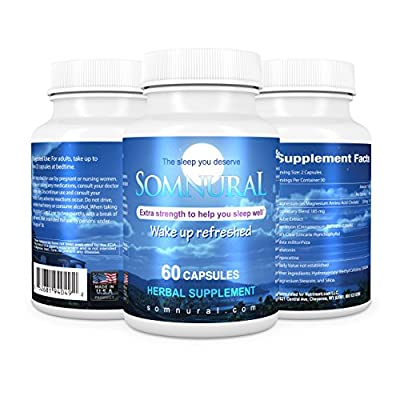 Somnural All Natural Sleep Aid -Sleep Supplement- Pills That Help You Fall Asleep Fast and Wake Up Refreshed- Promotes Sleep and Relaxation- Non Habit Forming- Fast Safe and Effective- Money Back if Not Satisfied