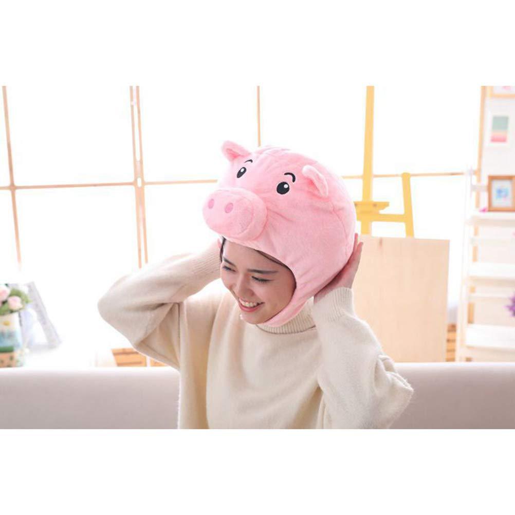 Amosfun Cappello Maiale Costume Copricapo Peluche Animale Berretto per Donna Bamibini