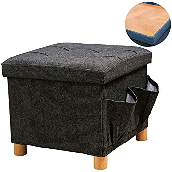Kids Seat and Foot Rest Stool Toy Box Childrens Furniture Guidecraft Storage Bench Red Ottoman Chest with Removable Top Cushion