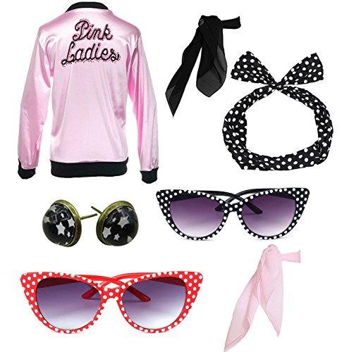 Retro 1950s Rhinestore Pink Ladies Costume Outfit Accessories Set -