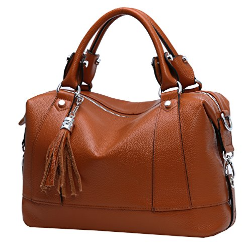 Heshe Leather Shoulder Bag Womens Tote Top Handle Handbags Cross Body Bags for Office Lady (Dark Brown) (Leather Like Purse Handbag)