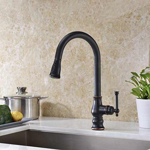 Best Review Of Kitchen Faucet with Pull Out Sprayer Oil Rubbed Bronze Delle Rosa Solid Brass Single ...