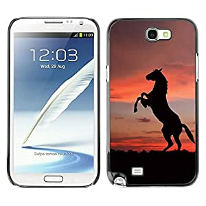 Impact Case Cover with Art Pattern Designs FOR Samsung Note 2 N7100 SUNSET MUSTANG HORSE Betty shop